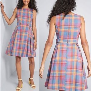 ModCloth Something Sixties Cotton Plaid Dress